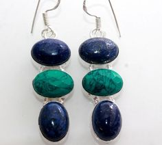 BLUE LAPIS LAZULI-TURQUOISE UNIQUE HIGH FASHION 925 STERLING SILVER EARRING T105 #925silverpalace #DropDangle