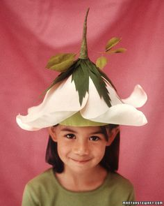 Make a blooming disguise with a floral cap made from crepe paper.