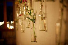 hanging bottles - wedding decor