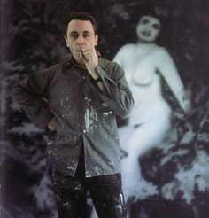 Gerhard Richter standing in front of his work, Diana, 1967