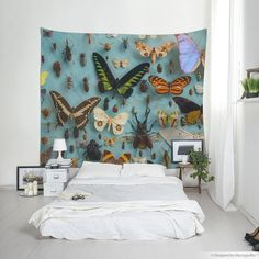Butterfly tapestry, Bugs wall hanging for home decor or photo backdrop, Dorm room decor, Butterfly wall art. Wall Tapestries, Tapestry Wall Hanging, Room Tapestry, Affordable Wall Art, Butterfly Wall Art, Room Decor, Wall Decor, Interior Decorating, Interior Design