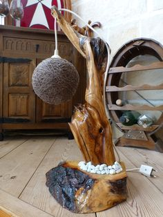 second driftwood lamp. a lot of sanding!!!!!!...made lampshade to from some old leftover wool....