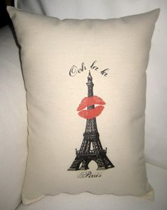 Eiffel Tower Kiss Pillow, Valentine's or Wedding Gift by frenchcountrydesigns on #Etsy $19.79