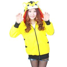 Spring Animal Women Men's Stitch Panda Cat Wolf Yellow Tiger Dinosaur Charmander Kigurumis Hoodies Coat With Ears Plus Size