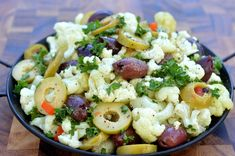Cauliflower & Olives with Greek Flavors Made in uner 10 minutes.