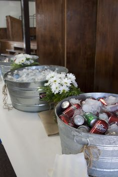 drink station. graduation party. burlap. butcher paper. daisies. rustic.