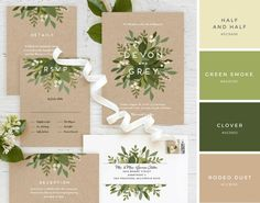 Modern white typography paired with fresh green florals create the perfect garden wedding. Minted artist Jennifer Wick's Laurels of Green wedding invitation Green Wedding Invitations, Wedding Invitation Inspiration, Rustic Invitations, Wedding Invitation Design, Wedding Stationary, Garden Party Invitations, Wedding Inspiration, Wedding Invitation Content, Garden Inspiration