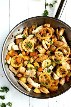 A healthy, fresh, and flavorful one skillet meal – lemon chicken, red potatoes, and carrots. This is a simple dish all made in one skillet over the stove-top. How was your weekend everyone?! Are you all sad it's Monday already? Just the thing to combat with the Monday Blues is this dinner! It's a super tasty...