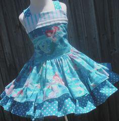 Custom Boutique Disney Princess Little Mermaid Ariel Dress Girl 2 3 4 5 6 7 8. $55.00, via Etsy.
