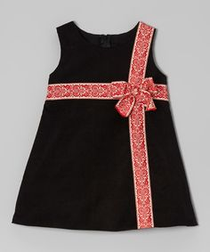 Take a look at this Black & Red Corduroy Bow Dress - Infant, Toddler & Girls on zulily today!
