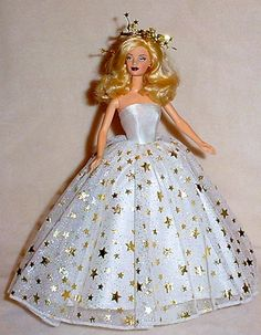 Handmade Barbie Clothes - White Satin Gown with Gold Stars