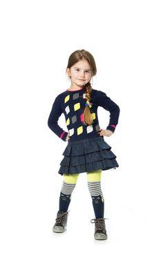 Deux par Deux Girls' Hibou Tchou Knit Dress with Frills #kidsfashion #holidayphotos #deuxpardeux #onlineboutique #shophenryandlola