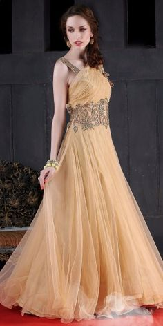 Charming Cream Net Embroidered Gown.