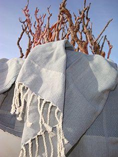 "Fouta Playa | Hammam towel | extra high quality cotton, with elegant herringbone weaving | Grey | XXL 100x180cm (39""x71"")"