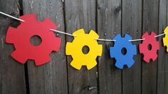 Gears Garland, Gears Banner, Gears Party Banner, Robot Banner, Robot Garland, Robot Banner by CraftyCue on Etsy