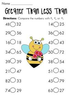 Greater than less than worksheets... 2 pages are 1 digit, 2 pages are 2 digit like this one