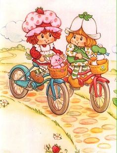 Strawberry Shortcake Vintage with Mint Tulip Riding Bycicle ❤