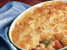 Hearty Chicken Pot Pie Recipe from Betty Crocker. Added 2 cans of soup and extra biscuit mix. So yummy!!