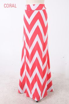 Coral Chevron Print Maxi Skirt. Can't wait to get this in the mail soon! :)