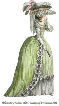 1785 vintage fashion plate png in various colors by EKDuncan - http://www.ekduncan.com/2012/06/1785-1786-french-fashion-plates-des.html#