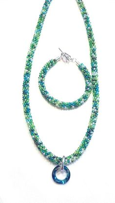 Kumihimo Bermuda Blue Necklace and Bracelet
