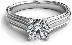 Contoure Engraved Diamond Solitaire Engagement Ring features gracious curves with a ribbed design along the band.