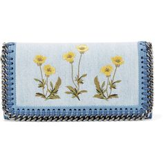 Stella McCartney Chain-trimmed embroidered denim wallet ($280) ❤ liked on Polyvore featuring bags, wallets, light blue, embroidery bag, blue wallet, stella mccartney wallet, embroidered wallet and card slot wallet