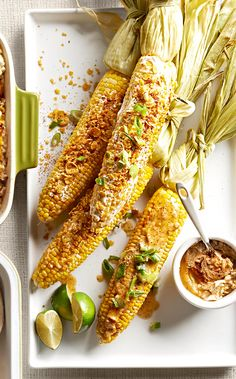 It doesn't get much better than fresh sweet corn slathered with butter. We've taken it to the next level with a spicy double-chile butter and a crunchy cornflake topping. Fresh Corn Recipes, Bhg Recipes, Cucumber Recipes, Side Recipes, Vegetable Recipes, Summer Recipes, Vegetarian Recipes, Dinner Recipes, Cooking Recipes