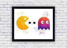 Pac Man Watercolor print, Pac Man Printable Wall Art, Pac Man wall decor, Pac Man poster by Toons4Fun on Etsy
