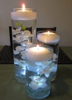 Floating on water candles with decorations