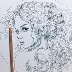 Flower Drawing Discover Mysteria by Anastasia Elly Koldareva Mysteria by Anastasia Elly Koldareva Pencil Art Drawings, Art Drawings Sketches, Sketch Art, Dragon Dreaming, Art Sketchbook, Art Inspo, Coloring Pages, Fantasy Art, Artsy