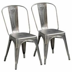 Tolix Set of 2 chairs AM.PM Play on the industrial style to the max with this genuine Tolix 'A chair'. Unashamedly industrial, its untreated steel composition gives it unrivalled. Industrial Chair, Industrial Style, Conservatory Furniture, Steel Paint, Metal Stool, High Stool, Perforated Metal, Deco Design, Chairs