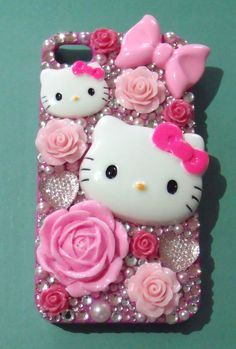 Handmade 'Floral Fever' Hello Kitty, Roses, Hearts, Bows, Pearls Pink iPhone 4/S Case. $40.00, via Etsy.
