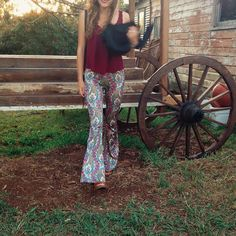 Selene Bell Bottoms in all their paisley glory. With fruit tingle inspired colours: pinks greens apricots and blues you'll find yourself wearing them everywhere!  Find them on the Flare Street Etsy store - link in bio.  from Newrybar Byron Bay.