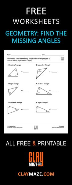 Free and printable geometry worksheet - Find the missing angles in the triangles. The student should be familiar with right triangles, isosceles triangles, equilateral triangles and scalene trianges.