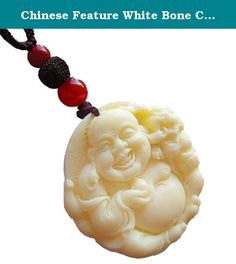 Chinese Feature White Bone Carving Pendant (Buddha-1). 21styles Chinese Feature White Bone Carving Pendant. Material : Bone carving, agate, turquoise Chain length: 23CM (Total length: 31CM) Appearance clean, with strong ethnic characteristics, can mix and match clothing, suitable for all seasons.