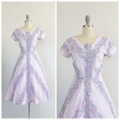 50s Purple Floral Stripe Dress / 1950s by CheshireVintageShop