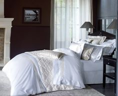 Elegance at it's finest. | Yves Delorme Laurier Bedding Collection | #bedding, #homedecor, #sleeplikeaqueen | thepicketfence.com