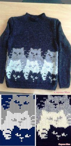 свитер Коты - Вязание - Страна Мам Fair Isle Knitting Patterns, Knitting Charts, Knitting Stitches, Knitting Designs, Knit Patterns, Crochet Case, Knit Crochet, Filet Crochet Charts, Christmas Crochet Patterns
