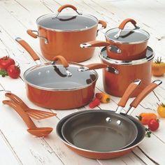 Cookware Set Nonstick Oven Safe Porcelain Enamel Lid Pot Rachel Ray Orange 12Pcs #Meyer
