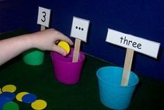 This is a nice TEACCH task for quantity, number, and number word.