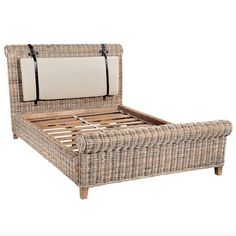 King Size Country Maya Rattan Sleigh Bed -  Modish Living Reclaimed wood bed