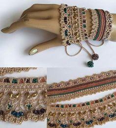 Ideas Crochet Lace Bracelet Armband For 2019 Crochet Beaded Bracelets, Lace Bracelet, Lace Necklace, Bead Crochet, Crochet Lace, Cuff Bracelets, Crochet Necklace, Pandora Bracelets, Crochet Jewellery