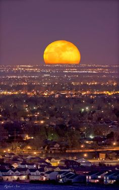 Moonrise over Fort Collins, Colorado....