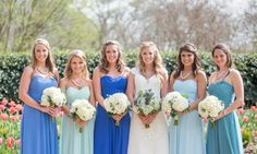 bill levkoff bridesmaids in ombre blue shades