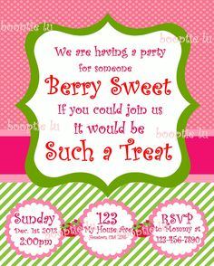 Printable Strawberry Shortcake themed Invitation invite. $15.00, via Etsy.