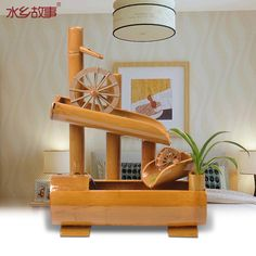 Home Fountain, Bamboo Fountain, Bamboo Crafts, Wood Crafts, Japanese Garden Ornaments, Hobbies And Crafts, Diy And Crafts, Swing Table, Diy Garden Fountains