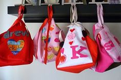 """""""Lovey bundles"""" -- hang like stockings, fill each other's with love notes, little gifts, etc"""