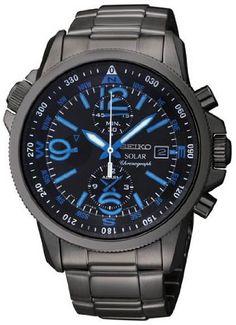 Seiko Solar Chronograph Compass Black Dial Mens Watch SSC079