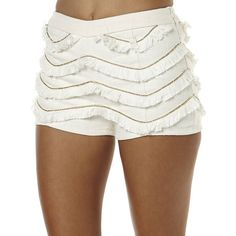 Swell Pharaoh Fringe Short ($21) ❤ liked on Polyvore featuring shorts, ivory, fringe shorts, patterned shorts, zipper shorts, print shorts and short shorts